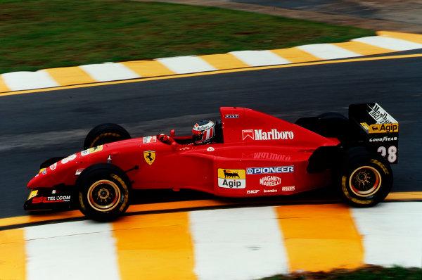 Interlagos, Sao Paulo, Brazil.24-26 March 1995.Gerhard Berger (Ferrari 412T2) 3rd position.Ref-95 BRA 17.World Copyright - LAT Photographic