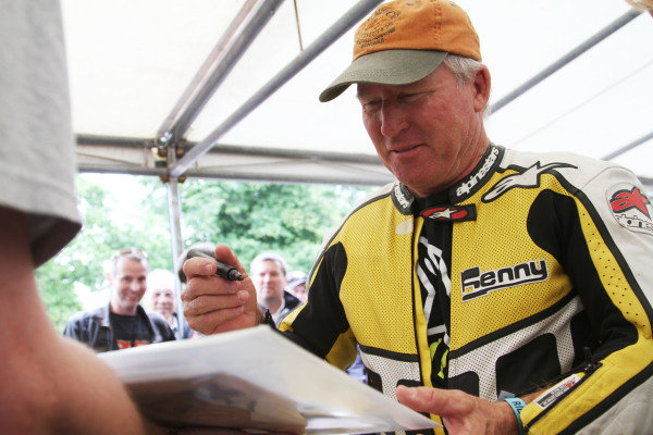 Goodwood Estate, West Sussex, England. 28th June - 1st July 2012. Kenny Roberts signing autographs in the paddock. World Copyright: Kevin Wood/LAT Photographic Ref: IMG_9331a
