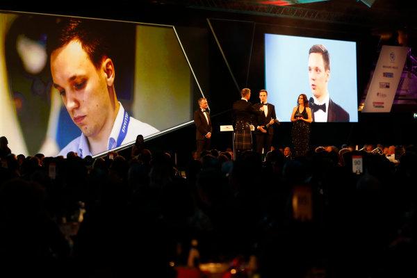 2017 Autosport Awards Grosvenor House Hotel, Park Lane, London. Sunday 3 December 2017. David Coulthard interviews the winner of the Williams Engineer of Future Award, Martin Zalmans, as Paddy Lowe, Williams Martini Racing Formula 1 looks on. World Copyright: Joe Portlock/LAT Images Ref: Digital Image _o3i6946