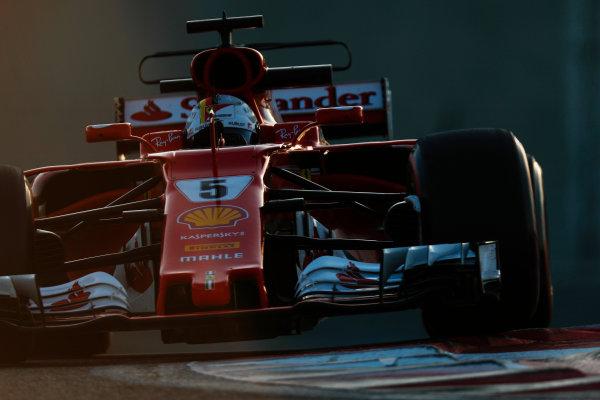 Yas Marina Circuit, Abu Dhabi, United Arab Emirates. Wednesday 29 November 2017. Sebastian Vettel, Ferrari SF70H.  World Copyright: Zak Mauger/LAT Images  ref: Digital Image _56I6813