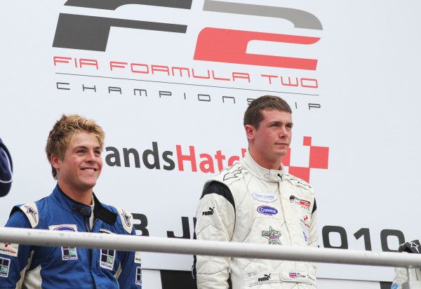 Brands Hatch, UK. 17-18th July 2010. Jack Clarke, 2nd position, and Dean Stoneman, 1st position, on the podium. Portrait. World Copyright: Kevin Wood/LAT Photographic Ref: Digital Image IMG_4118a