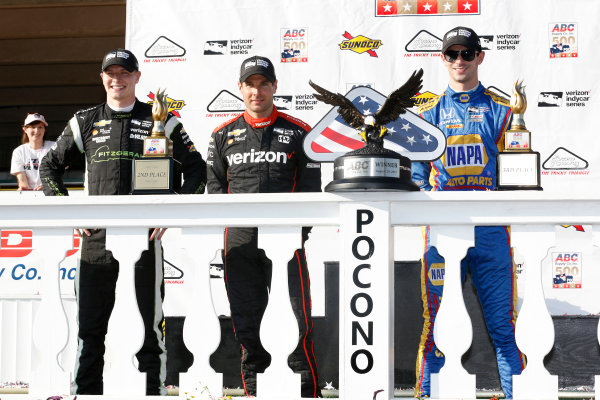 Verizon IndyCar Series ABC Supply 500 Pocono Raceway, Long Pond, PA USA Sunday 20 August 2017 Will Power, Team Penske Chevrolet, Josef Newgarden, Team Penske Chevrolet, Alexander Rossi, Curb Andretti Herta Autosport with Curb-Agajanian Honda celebrate on the podium World Copyright: Phillip Abbott LAT Images ref: Digital Image abbott_pocono_0817_8038