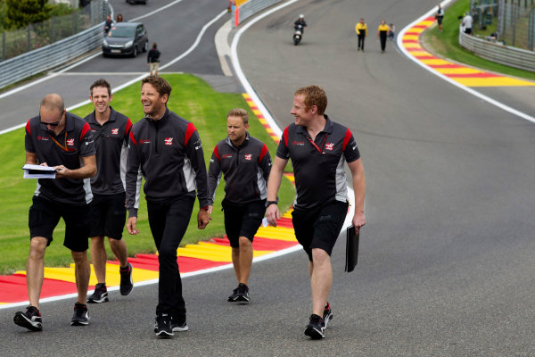 Spa Francorchamps, Belgium.  Thursday 24 August 2017. Romain Grosjean, Haas F1, walks the track with colleagues. World Copyright: Al Staley/LAT Images  ref: Digital Image _X0W0236