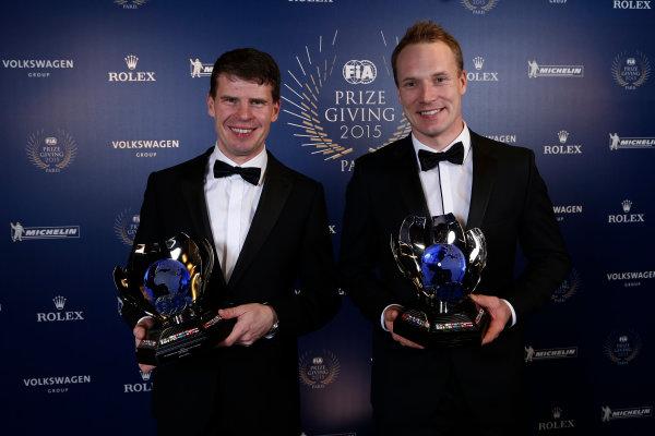 2015 FIA Prize Giving Paris, France Friday 4th December 2015 Jari Matti Latvala and Miikka Anttila, portait  Photo: Copyright Free FOR EDITORIAL USE ONLY. Mandatory Credit: FIA / Jean Michel Le Meur  / DPPI ref: _ML23454