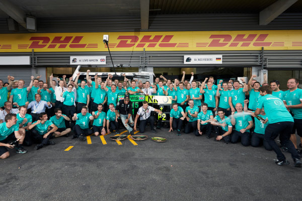 Spa-Francorchamps, Spa, Belgium. Sunday 23 August 2015. Lewis Hamilton, Mercedes AMG celebrates with Paddy Lowe, Executive Director (Technical), Mercedes AMG and the rest of the team after the race. World Copyright: Steve Etherington/LAT Photographic ref: Digital Image SNE22763