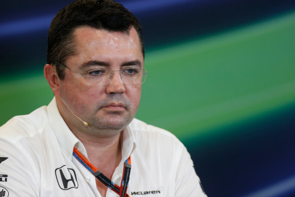 Circuit of the Americas, Austin, Texas, United States of America.  Friday 23 October 2015. Eric Boullier, Racing Director, McLaren, in the Team Principal Press Conference. World Copyright: Andrew Ferraro/LAT Photographic ref: Digital Image _FER6388