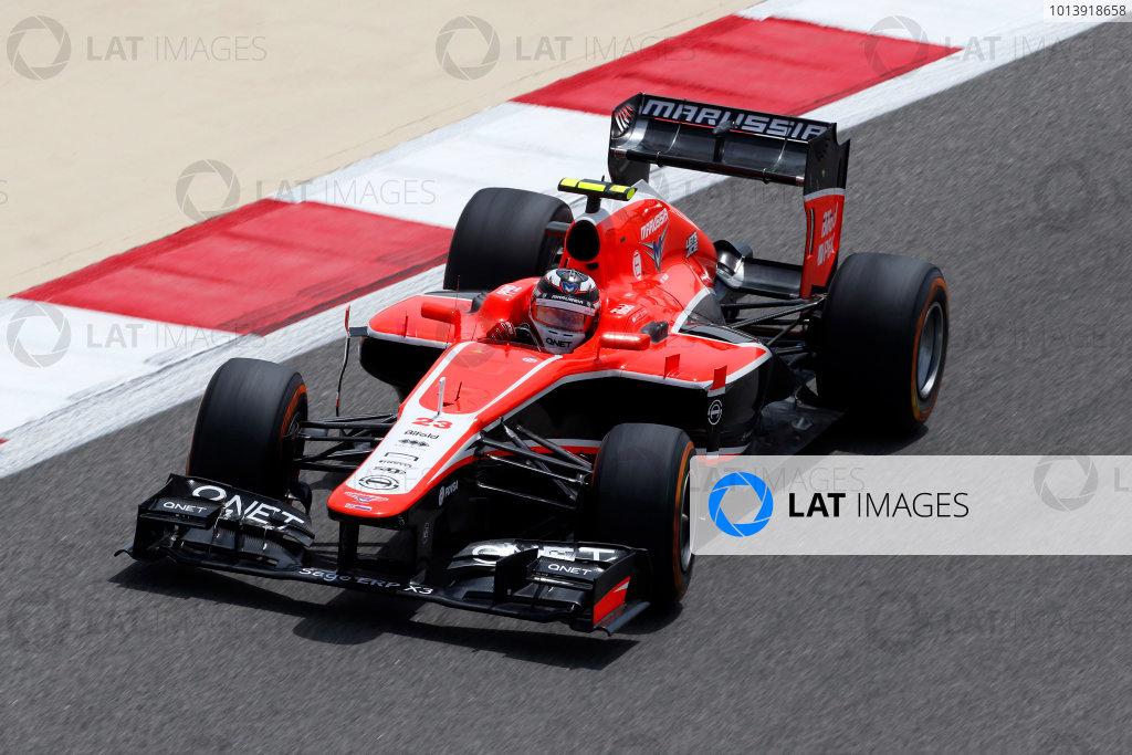 Bahrain International Circuit, Sakhir, Bahrain Friday 19th April 2013 Max Chilton, Marussia MR02 Cosworth.  World Copyright: Charles Coates/LAT Photographic ref: Digital Image _N7T9981