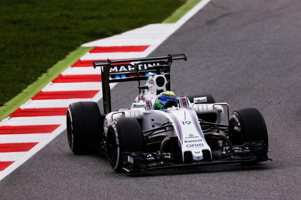 Circuit de Catalunya, Barcelona, Spain.  Wednesday 18 May 2016.  Felipe Massa, Williams FW38 Mercedes, tests a development rear wing and aero parts.  World Copyright: Sam Bloxham/LAT Photographic ref: Digital Image _R6T1961