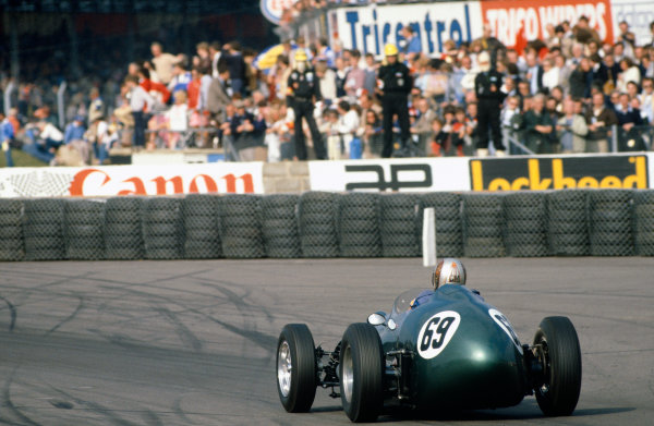 Silverstone, England. 27th June 1981. Rd 2.Gerry Marshall, Aston Martin DBR4, 1st position, action.World Copyright: LAT Photographic.