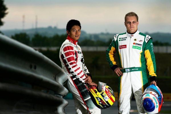 Round 6. Hungaroring, Budapest, Hungary, 28th July 2011.Thursday Preview. Rio Haryanto, (INA, Marussia Manor Racing) and Valtteri Bottas, (FIN, Lotus ART) winners of races 9 and 10 at round five at the Nurburgring, Germany. Portrait. Photo: Drew Gibson/GP3 Media Service. ref: Digital Image _Y2Z6622