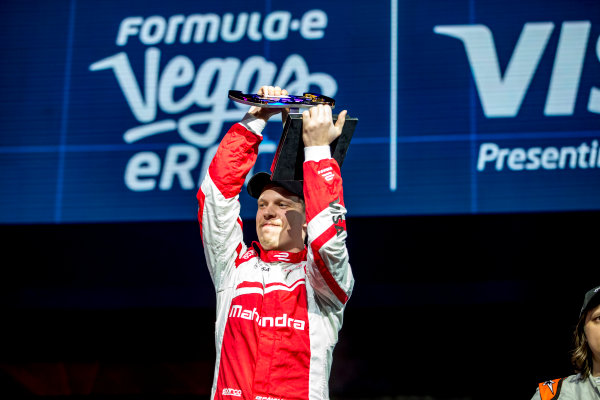 2016/2017 FIA Formula E Championship. Vegas eRace, Las Vegas, Nevada, United States of America. Sunday 8 January 2017. Provisional 1st Place, Olli Pahkala, Mahindra Racing, would lose his win owing to a Fanboost infringement. Photo: Zak Mauger/LAT/Formula E ref: Digital Image _L0U7539