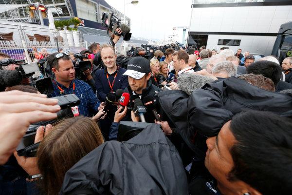 Monte Carlo, Monaco. Thursday 21 May 2015. Jenson Button, McLaren, talks to the media. World Copyright: Alastair Staley/LAT Photographic. ref: Digital Image _79P0285
