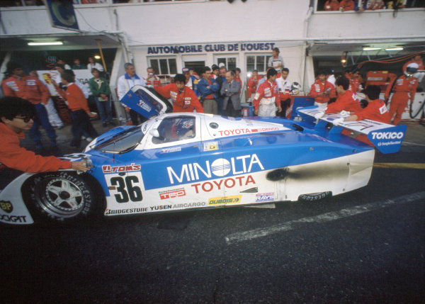 1989 Le Mans 24 HoursLe Mans, France. 10th - 11th June.Paolo Barilla/Ross Cheever/Hitoshi Ogawa (Toyota 89CV).World Copyright: Murenbeeld/LAT Photographicref: 35mm Transparency Image