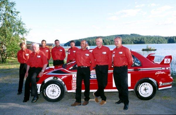 The new Mitsubishi Lancer Evo World Rally Car Step 2.  FIA World Rally Championship, Rd9, Neste Rally Finland, Finland. 8-11 August 2002.  BEST IMAGE