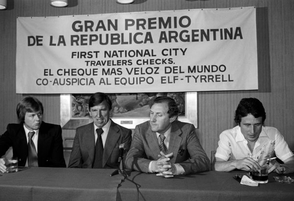Tyrrell personnel give a press conference (L to R): Ronnie Peterson (SWE); Ken Tyrrell (GBR) Tyrrell Team Owner; Derek Gardner (GBR) Tyrrell Designer; Patrick Depailler (FRA).