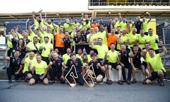 Christian Horner and Max Verstappen, Red Bull Racing celebrate with the team after their race win.