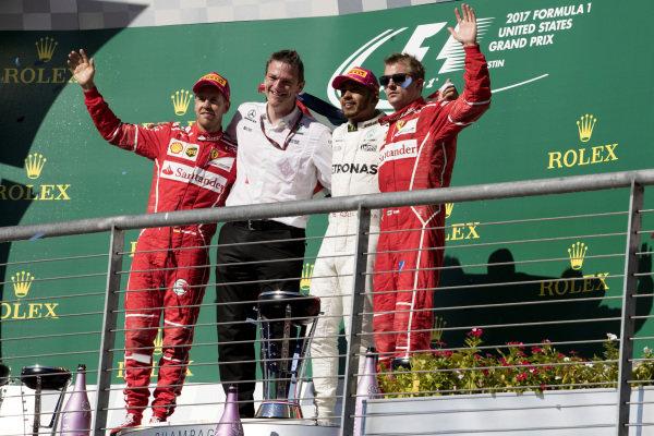 Sebastian Vettel (GER) Ferrari, James Allison (GBR) Mercedes Technical Director, race winner Lewis Hamilton (GBR) Mercedes AMG F1 and Kimi Raikkonen (FIN) Ferrari celebrate on the podium at Formula One World Championship, Rd17, United States Grand Prix, Race, Circuit of the Americas, Austin, Texas, USA, Sunday 22 October 2017.