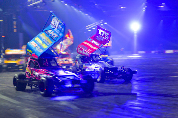 Stock car action in the Live Action Arena.