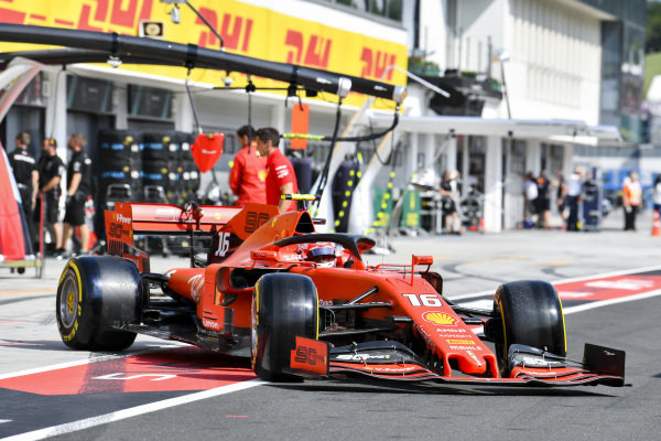 Charles Leclerc, Ferrari SF90, leaves the garage