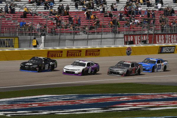 #18: Kyle Busch, Joe Gibbs Racing, Toyota Supra Extreme Concepts/iK9, #8: Zane Smith, JR Motorsports, Chevrolet Camaro The Cosmopolitan of Las Vegas, and #9: Noah Gragson, JR Motorsports, Chevrolet Camaro Switch
