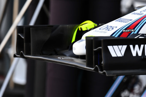 Williams FW38 front wing detail at Formula One World Championship, Rd1, Australian Grand Prix, Preparations, Albert Park, Melbourne, Australia, Thursday 17 March 2016.