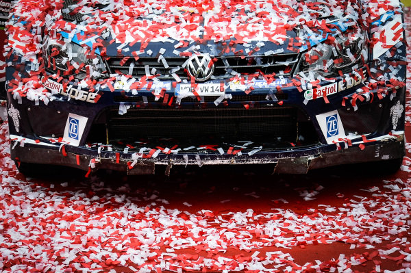 The winning car of Andreas Mikkelsen (NOR) / Anders Jaeger Synnevag (NOR), Volkswagen Motorsport II Polo R WRC at FIA World Rally Championship, Rd7, Rally Poland, Day Three, Mikolajki, Poland, 3 July 2016.