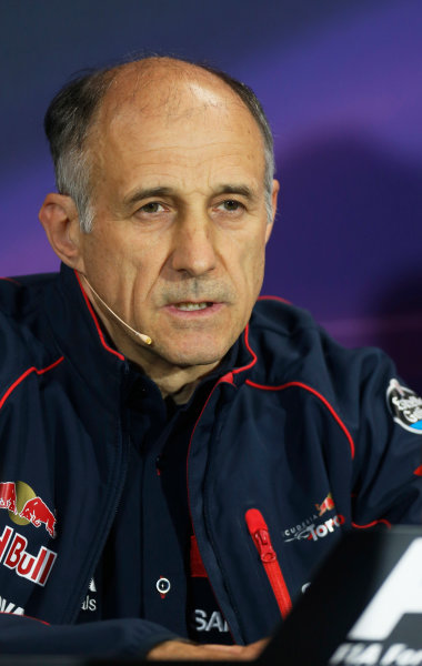Monte Carlo, Monaco. Thursday 21 May 2015. Franz Tost, Team Principal, Toro Rosso, in the team principals Press Conference. World Copyright: Alastair Staley/LAT Photographic. ref: Digital Image _79P0172