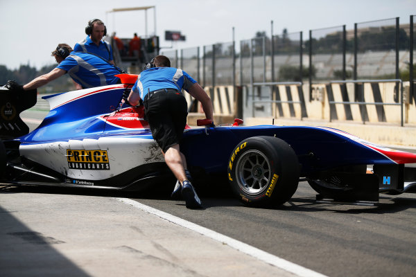 2015 GP3 Series Test 2 - Circuit Ricardo Tormo, Valencia, Spain. Friday 10 April 2015. Mitchell Gilbert (AUS, Carlin), is pushed back into the garage Photo: Sam Bloxham/GP3 Series Media Service. ref: Digital Image _SBL5203