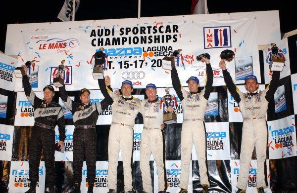 GTS podium and results:1st: Ron Fellows (CDN) / Johnny O'Connell (USA) Corvette Racing, centre.2nd: Oliver Gavin (GBR) / Olivier Beretta (MON) Corvette Racing, right.3rd: Terry Borcheller (USA) / Johnny Mowlem (GBR) ACEMCO Motorsports, left.American Le Mans Series, Rd9, Laguna Seca, USA, 16 October 2004.DIGITAL IMAGE