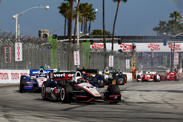 11-13 April, 2014, Long Beach, California USA Will Power leads Helio Castroneves and Jack Hawksworth ©2014, Phillip Abbott LAT Photo USA