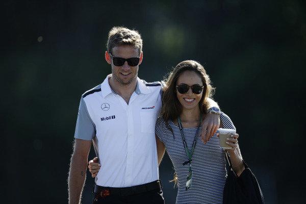 Circuit Gilles Villeneuve, Montreal, Canada. Saturday 7 June 2014. Jenson Button, McLaren, with Jessica Michibata. World Copyright: Charles Coates/LAT Photographic. ref: Digital Image _J5R0644