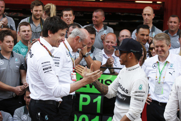 Circuit de Catalunya, Barcelona, Spain. Sunday 11 May 2014. Toto Wolff, Executive Director (Business), Mercedes AMG, Dr Dieter Zetsche, CEO, Mercedes Benz, Lewis Hamilton, Mercedes AMG, 1st Position, and the Mercedes team celebrate. World Copyright: Charles Coates/LAT Photographic. ref: Digital Image _N7T1305