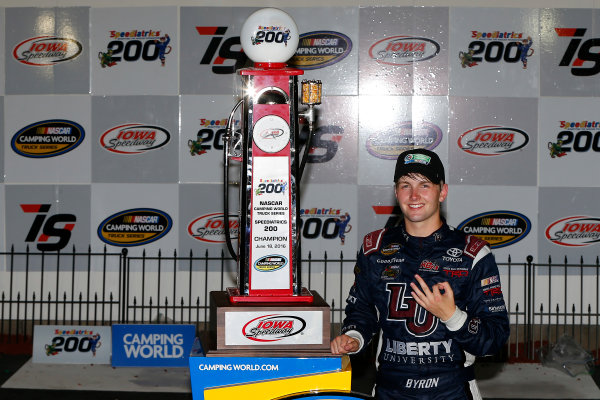 17-18 June, 2016, Newton, Iowa USA William Byron celebrates in victory lane  ?2016, Russell LaBounty LAT Photo USA
