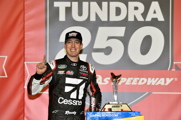 NASCAR Camping World Truck Series Toyota Tundra 250 Kansas Speedway, Kansas City, KS USA Friday 12 May 2017 Kyle Busch, Cessna Toyota Tundra celebrates his win in Victory Lane World Copyright: Nigel Kinrade LAT Images ref: Digital Image 17KAN1nk07199