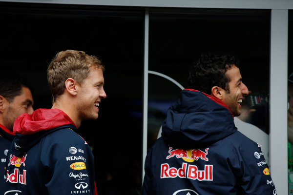 Spa-Francorchamps, Spa, Belgium. Saturday 23 August 2014. Sebastian Vettel, Red Bull Racing, and Daniel Ricciardo, Red Bull Racing. World Copyright: Charles Coates/LAT Photographic. ref: Digital Image _J5R1161