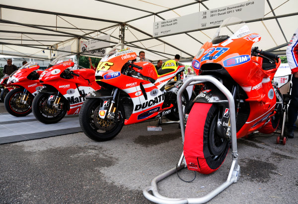 2014 Goodwood Festival of Speed  Goodwood Estate, West Sussex, England. 26th - 29th June 2014.  Collection of MotoGP Ducatis.  Ref: KW5_0980a. World copyright: Kevin Wood/LAT Photographic