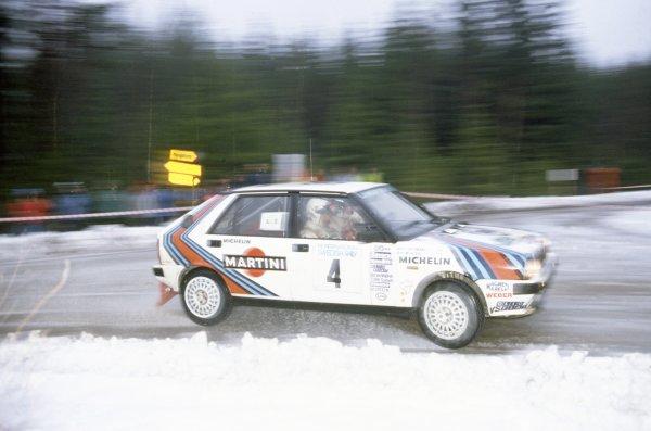 1988 World Rally Championship.Swedish Rally, Sweden. 4-6 February 1988.Markku Alen/Ilkka Kivimaki (Lancia Delta HF 4WD), 1st position.World Copyright: LAT PhotographicRef: 35mm transparency 88RALLY02