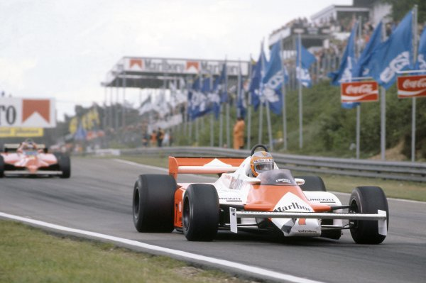 1981 Belgian Grand PrixZolder, Belgium. 15-17 May 1981.John Watson (McLaren MP4/1-Ford Cosworth) leads Gilles Villeneuve (Ferrari 126CK). They finished in 7th and 4th positions respectively. Ref - 81BEL22.World Copyright - LAT Photographic