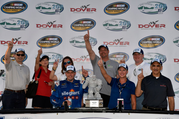 NASCAR Camping World Truck Series Bar Harbor 200 Dover International Speedway, Dover, DE USA Friday 2 June 2017 Johnny Sauter, Allegiant Airlines Chevrolet Silverado celebrates his win in Victory Lane World Copyright: Nigel Kinrade LAT Images ref: Digital Image 17DOV1nk06863