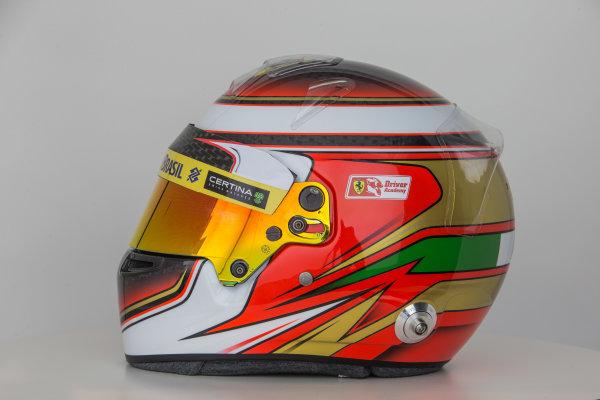 Hinwil, Switzerland. Thursday 29 January 2015. Helmet of Raffaele Marciello, Test and Reserve Driver, Sauber.  World Copyright: Sauber F1 Team (Copyright Free FOR EDITORIAL USE ONLY) ref: Digital Image 2015_SAUBER_HELMET_18