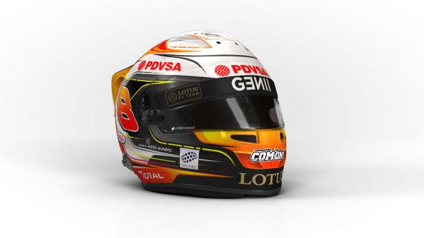 Circuito de Jerez, Jerez, Spain. Wednesday 4 February 2015. Helmet of Romain Grosjean, Lotus F1.  World Copyright: Lotus F1 Team (Copyright Free FOR EDITORIAL USE ONLY) ref: Digital Image 2015_LOTUS_HELMET_02