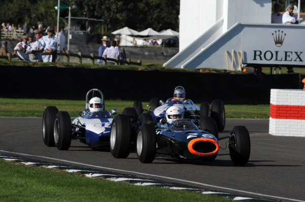2016 Goodwood Revival Goodwood Estate, West Sussex,England 9th - 11th September 2016 Glover Trophy  Andrew Wareing, BRM P261, leads Michel Wanty, Lotus-Climax 24. World Copyright : Jeff Bloxham/LAT Photographic Ref : Digital Image