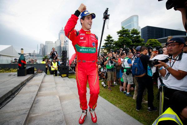 FIA Formula E Hong Kong e-Prix. Podium. Lucas Di Grassi (BRA), ABT Schaeffler Audi Sport, Spark-Abt Sportsline, ABT Schaeffler FE02.  Hong Kong Harbour, Hong Kong, Asia. Sunday 9 October 2016. Photo: Adam Warner / FE / LAT ref: Digital Image _L5R8373