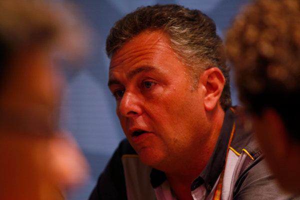 Yas Marina Circuit, Abu Dhabi, United Arab Emirates. Wednesday 29 November 2017. Mario Isola, Racing Manager, Pirelli Motorsport, talks to reporters. World Copyright: Joe Portlock/LAT Images  ref: Digital Image _L5R1248