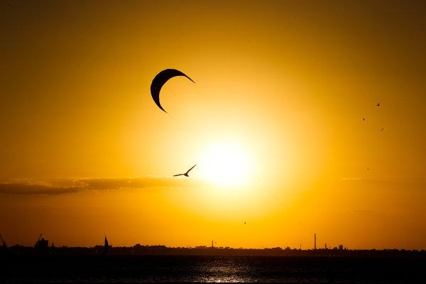 Sunset over the sea in Melbourne, Australia.