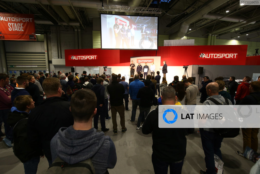 Autosport International Exhibition. National Exhibition Centre, Birmingham, UK. Sunday 14th January 2018. Matt Neal, Andrew Jordan, Colin Turkington and Ashley Sutton talk to Henry Hope-Frost on the Autosport Stage. World Copyright: Mike Hoyer/JEP/LAT Images Ref: AQ2Y0127