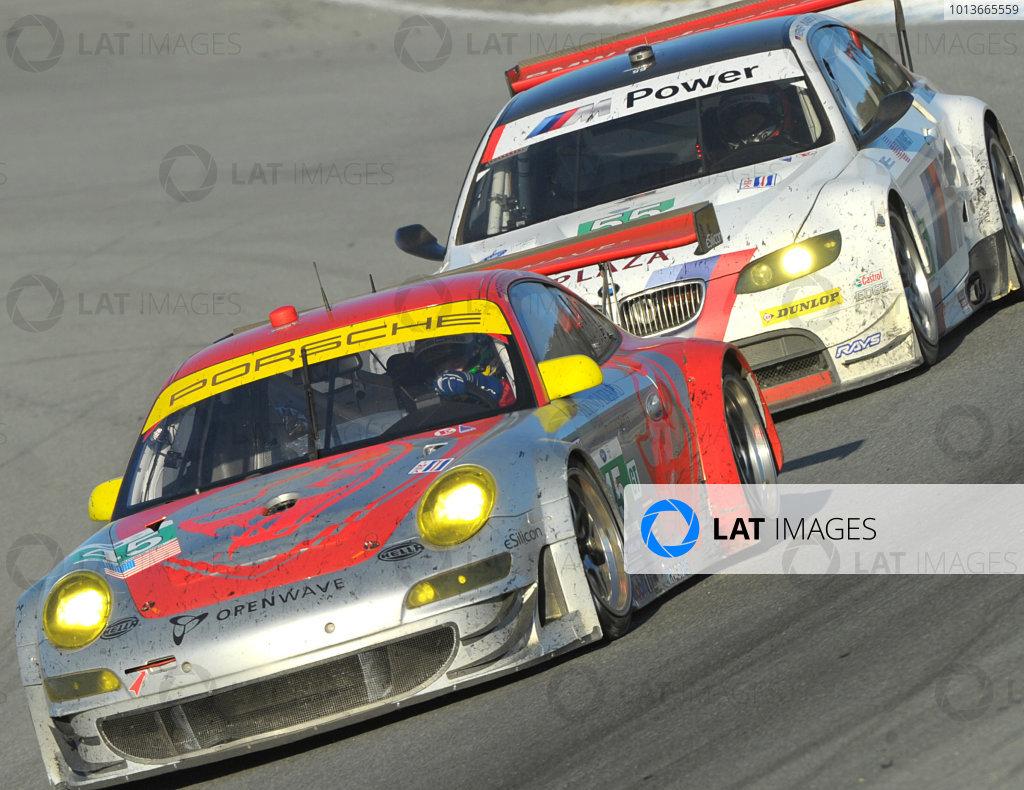 16-18 September, 2011, Monterey, California USA#45 Flying Lizard Motorsports Porsche 911 GT3 RSR and #55 BMW.(c)2011,  Dan R. Boyd  LAT Photo USA