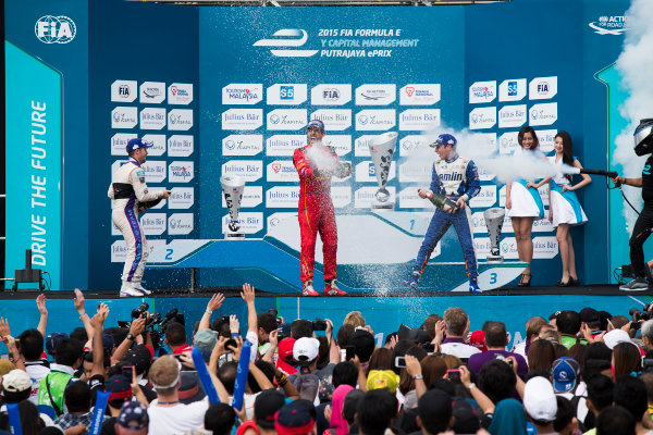 2015/2016 FIA Formula E Championship. Putrajaya ePrix, Putrajaya, Malaysia. Saturday 7 November 2015. Podium Lucas Di Grassi (BRA), ABT Audi Sport FE01, Sam Bird (GBR), DS Virgin Racing DSV-01 & Robin Frijns (NLD), Andretti - Spark SRT_01E on the podium Photo: Sam Bloxham/FIA Formula E/LAT ref: Digital Image _SBL1332