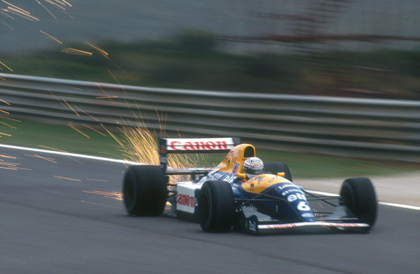 1991 Portuguese Grand Prix.Estoril, Portugal.20-22 September 1991.Riccardo Patrese (Williams FW14 Renault) 1st position.Ref-91 POR 11.World Copyright - LAT Photographic