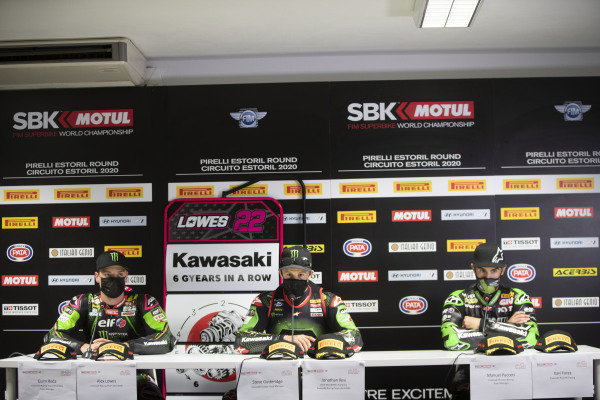 Alex Lowes, Kawasaki Racing Team, Jonathan Rea, Kawasaki Racing Team, Xavi Fores, Kawasaki Puccetti Racing.